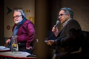 """""""Słowa i scena"""", debata w ramach cyklu """"Landscape Now"""", od lewej: Georges Ba"""