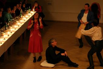 Roberta Carreri, Torgeir Wethal, Tage Larsen i Iben Nagel Rasmussen w spektaklu