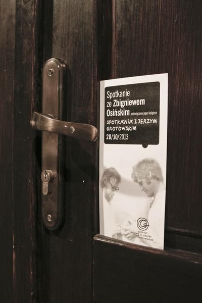 Spotkanie poświęcone książce Zbigniewa Osińskiego Spotkania z Jerzym Grotowskim.
