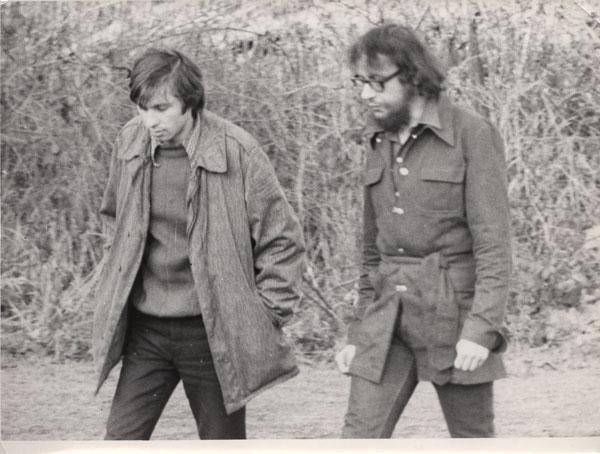 Włodzimierz Staniewski i Jerzy Grotowski w Brzezince, początek lat 70