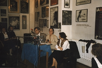 Michelle Kokosowski i Zbigniew Osiński w Ośrodku Grotowskiego we wrześniu 1990
