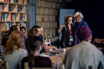 """""""Forum reżyserów"""", od lewej: Małgorzata Jabłońska, Eugenio Barba, 21–25 paźd"""