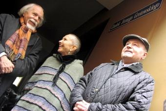 Ludwik Flaszen, Rena Mirecka i Zygmunt Molik we wrześniu 2002, fot. Tomasz Hołod