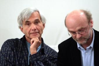 Eugenio Barba i Leszek Kolankiewicz w czasie spotkania